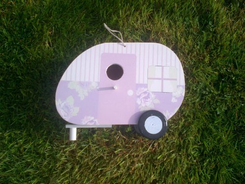 Caravan Bird Nesting Box Painted Wooden Hanging Bird House Choice of Colours Gift for Gardener (Lilac)