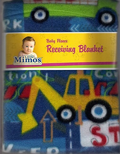 "Baby Fleece Receiving Blanket 30"" X 30"" Blue Background with Cars By Little Mimos - 1"