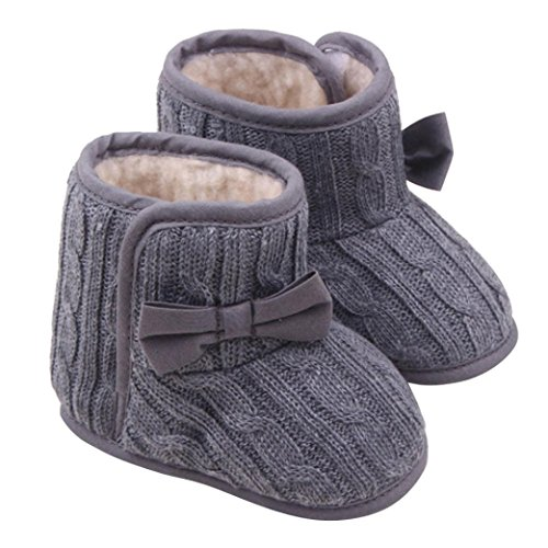 DZT1968® Baby Girl Soft Sole Anti Slip Prewalker Shoes Snow Boots Socks With Bowknot (9~12 Months, Gray)
