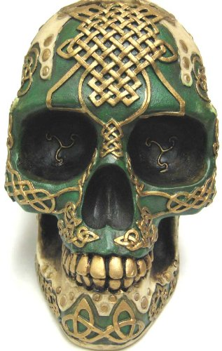 Celtic Knotwork Lion Human Skull Money Bank Piggy