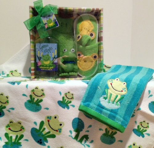 Lucky Frog Toddler Bath Gift Set: Frog Towel, Hand Towel, Wash Mitt, Slippers, Frog Bath Toy, & Green Apple Shower Gel - 1