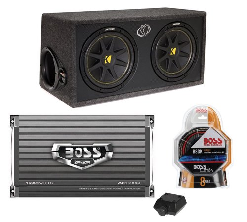 "Kicker Dc122 Dual 12"" 600W Car Audio Subwoofers + Box + Boss 1500W Amp + Amp Kit"