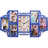 Plastic Collage Photo Frame With Clock (6 Photos + 1 Clock)