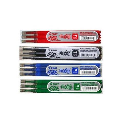 PILOT Lot de 4 sets de 3 recharges Frixion Point Noir, Bleu, Rouge et Vert