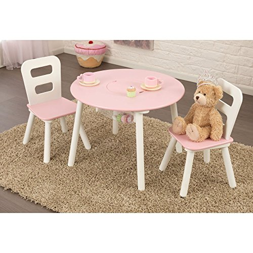 Kidkraft Kidkraft Round Table & 2 Chair Set - Pink &, White, Mdf