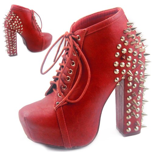 Women's Leatherette Spikes Studs Hidden Platform Ankle Bootie Chunky High Heel Lace Up Boots Fashion Shoes