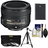 Nikon 50mm f 1.8 G AF-S Nikkor Lens with EN-EL14 Battery + 3 Filters + Tripod + Kit for D3200 - D3300 - D5200 - D5300 - D5500 DSLR Cameras