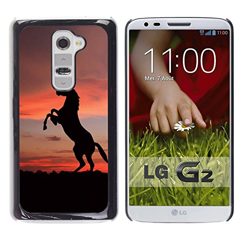 Harte PC Hülle Schutzhülle Handyhülle Hard Protective Case Smartphone Cover for LG G2 // SUNSET Mustang-Pferd // CooleCell