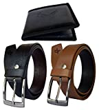 #6: Discover Fashion Men Pu Leather Belt wallet combo of 3