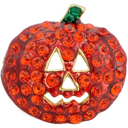 Swarovski Crystal Pumpkin Halloween Pin Brooch