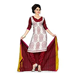 Cream and Red Chanderi Cotton Unstitched Dress with Kerala Print