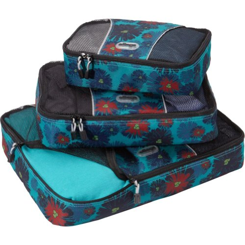 eBags Packing Cubes - 3pc Set (Brilliant Blooms-Blue)