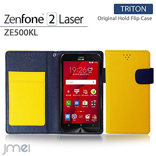 ZenFone2 Laser ZE500KL ケース jmeiオリジナルホールドフリップケース TRITON イエロー 楽天モバイル simフリー ASUS エイスース ゼンフォン 2 レーザー スマホ カバー スマホケース 手帳型 スマートフォン