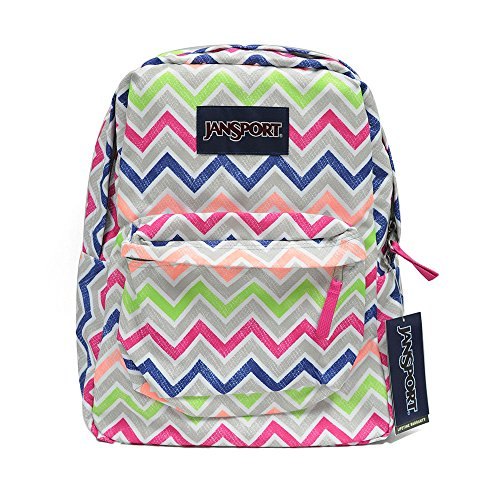 Classic Jansport Superbreak Backpack (Cyber Pink Summer Chevron (T5010ED))