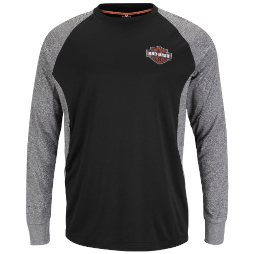 Harley-Davidson Mens Performance Reflective Featherweight Fleece Black Long Sleeve T-Shirt (X-Large)