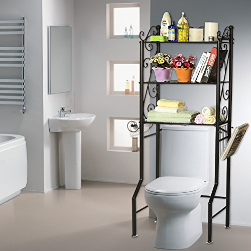 Over the toilet metal scrollwork 3 shelf bathroom etagere for Small bathroom etagere