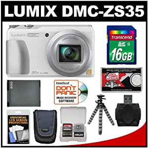 Panasonic Lumix DMC-ZS35 Wi-Fi Digital Camera (White) with 16GB Card + Case + Battery + Flex Tripod + Kit