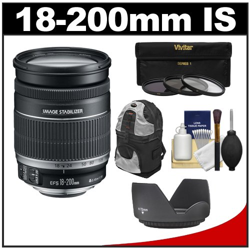Canon Ef-S 18-200Mm F/3.5-5.6 Is Zoom Lens With Case + 3 Uv/Fld/Cpl Filters + Hood + Kit For Eos 70D, Rebel T3, T3I, T4I, T5, T5I, Sl1 Dslr Cameras
