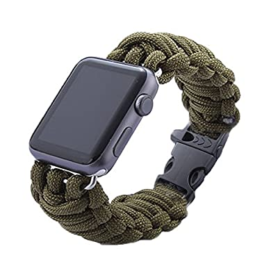 Apple Watch Band,LiQi Green Rope Flint Outdooring Sport Replacement Link Bracelet Strap Classic Wristband for Apple Watch & Sport & Edition version by Liqi