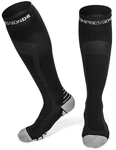 CompressionDR Compression Socks - Firm Knee High Graduated 20-30 mmHg - Foot, Ankle, Shin, and Calf Support For Women And Men - Best For Running, Sports, Travel, Recovery - Black / Medium