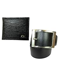 Needs Apki Needs Textured Black Men's Wallet And Stylish, Rectangular Buckle, Textured, Black Colour Men's Belt...
