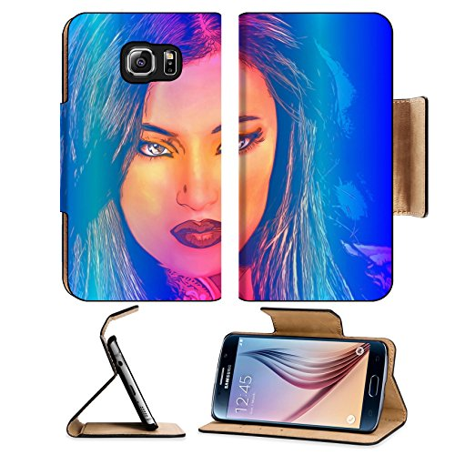 MSD Premium Samsung Galaxy S6 Edge Flip Pu Leather Wallet Case IMAGE ID 43526580 Brunette woman in a beautiful abstract digital art style (Kamasutra Jelly compare prices)
