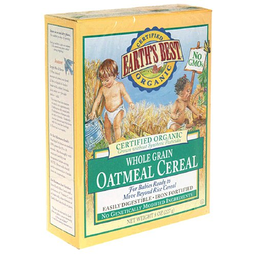 Earth's Best Organic Whole Grain Oatmeal Cereal, 8-Ounce Boxes (Pack of 12)