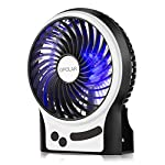 OPOLAR Portable Rechargeable Fan, Mini USB Fan with Upgraded 2200mAh LG Battery, Personal Cooling for Traveling Hiking Fishing Camping or Desktop, 3 Speeds, with LED Light