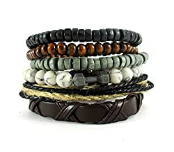 Streetsoul Bead Rusty Dumbbell Look Charm (Stack Of 6 pcs.) Multi Color 8mm Bead Bracelets For Men.