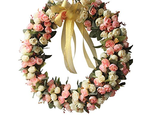 Door wreath Silk Rose Flower Head Home Decor (champagne pink)