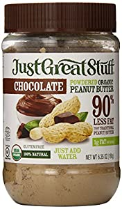 Just Great Stuff Powdered Organic Chocolate Peanut Butter, 6.35 Ounce Jar