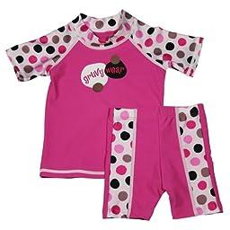 grUVywear UV Protective (UPF 50+) 2 Piece Lotsa Dots Set Baby Girl Swimsuit-18-24 M