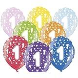 """SiDeSo® 10 Luftballons Zahl 1 12"""" bunt / mix metallic Party Geburtstag Jahrestag"""