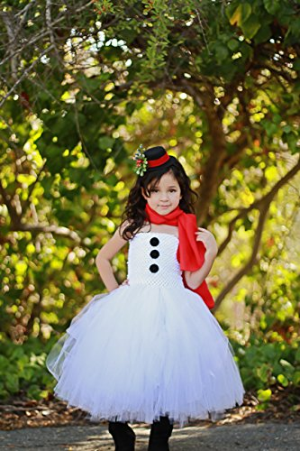 [Girls Snowman Costume Dresses with Red Scalf and Top Hat Headband (Large (5-6 Yrs))] (Snowman Costume Hat)