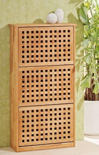 schuhregal schuhschrank mit 3 t ren aus walnuss holz ean. Black Bedroom Furniture Sets. Home Design Ideas