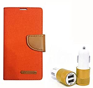 Aart Fancy Wallet Dairy Jeans Flip Case Cover for MotorolaMotoE (Orange) + Dual USB Port Car Charger with Smartest & Fastest Technology by Aart Store.