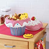 Hand Painted Cupcake Cookie Earthenware Jar with Air Tight Lid (H 32.2 x W 33.5 x L 34.5 cm)
