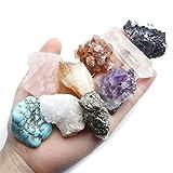 Top Plaza Mineral Rock Variety Tumbled Rough Gemstone Meteorite Fragment Healing Energy Crystal Collection Box (5 pcs Rough Irregular Shape Stones)