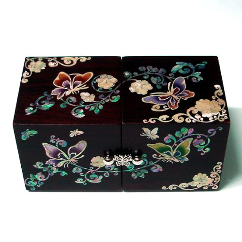 Mother of Pearl Twin Cubic Butterfly Travel Asian Lacquer Brown Wooden Jewellery Trinket Keepsake Treasure Gift Drawer Jewel Box Case Holder Organizer with Arabesque Flower Design