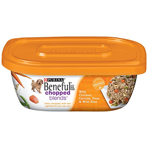 Beneful Wet Dog Food, Chopped Blends, with Chicken Carrots Peas & Wild Rice 10-Ounce Tub, Pack of 8