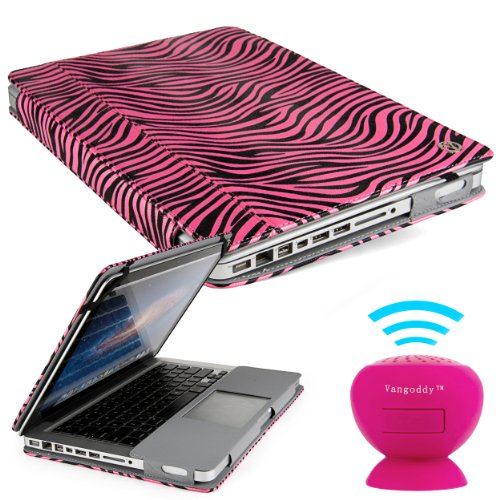 Vangoddy Laptop Mary - Pro City Book Portfolio Cover Case Pink Black Zebra Fits Apple Macbook Pro 13 Inch Retina Display + Pink Mini Suction Bluetooth Speaker W/ Microphone