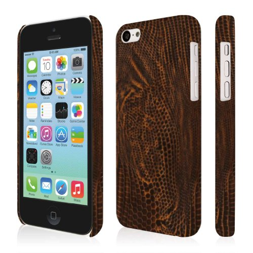 EMPIRE Klix Slim-Fit Hard Case for Apple iPhone 5C - Retail Packaging - Brown Leather Croc