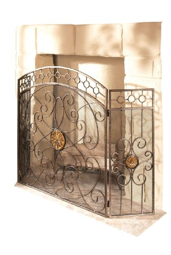 cbk ltd casa cristina collection iron fireplace screen with amber glass medallions 47 inch l. Black Bedroom Furniture Sets. Home Design Ideas