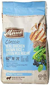 Merrick Classic 5-Pound Senior Real Chicken, Brown Rice and Green Pea Dog Food, 1 Bag