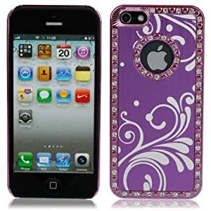 Wave Pattern Protective Rhinestone Aluminum Alloy Case for iPhone 5 Purple