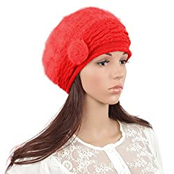 Janey&Rubbins Women's Fur Beanie Beret Hats Skull Skiing Caps (Red)