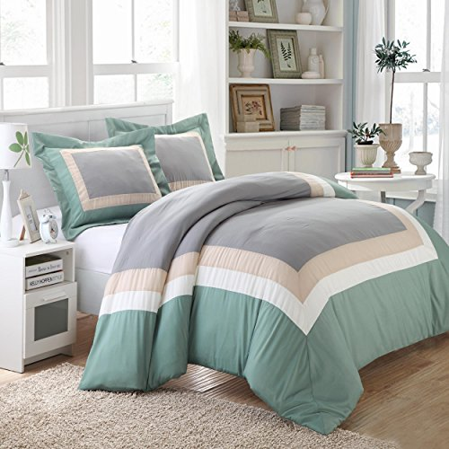 Chic Home Normandy 3-Piece Color Block Duvet Cover Set, Queen, Green front-67744