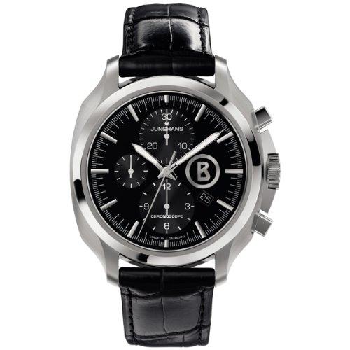 Junghans Bogner Willy Chronoscope 027/4261.00 - Reloj cronógrafo automático para hombre, correa de cuero color negro (agujas luminiscentes)