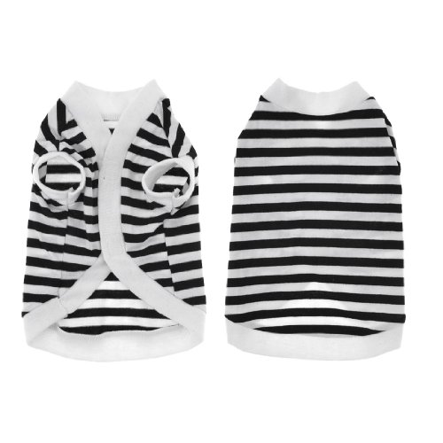 Stripes Pattern Dog Chihuaha Pet Puppy Summer Tee Shirt Clothes White Black Xs front-978994