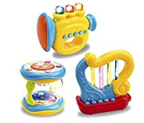 Set of 3 Musical Light Up Interactive Toy Instruments for Toddlers (Trumpet, Drum, Harp)